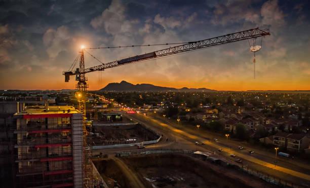 Aerial of crane sunset stock photo