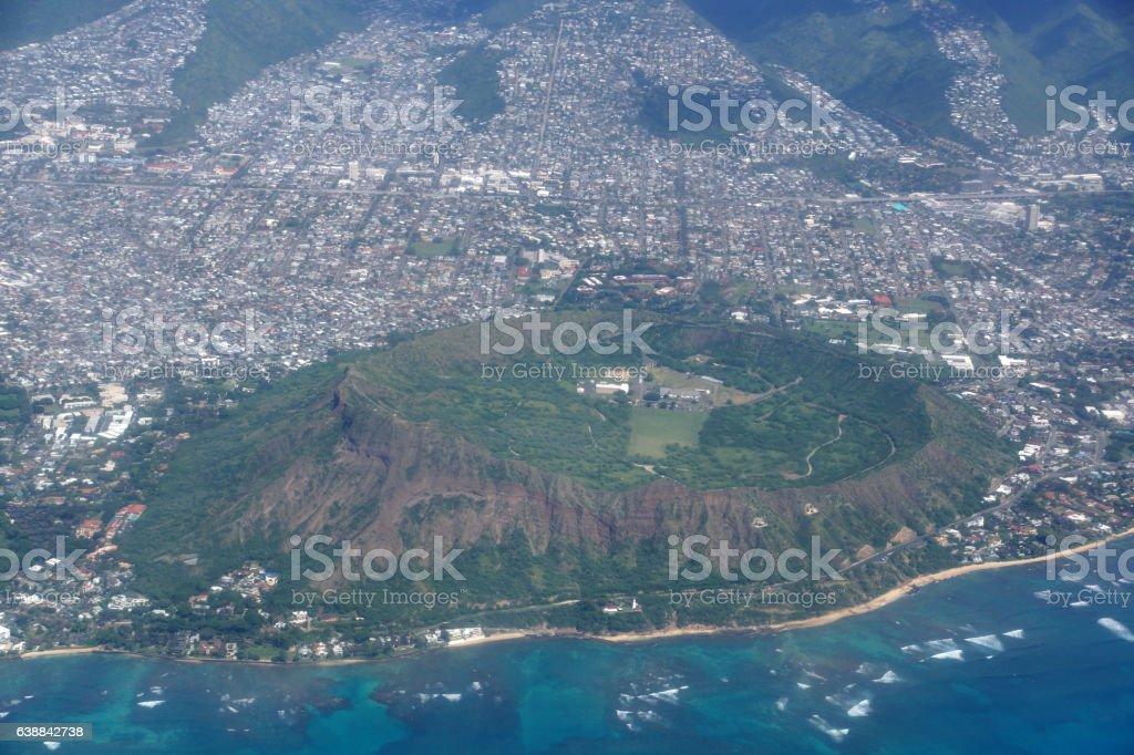 Aerial of Diamond Head Crater, Kaimuki, Kahala, and Honolulu stock photo