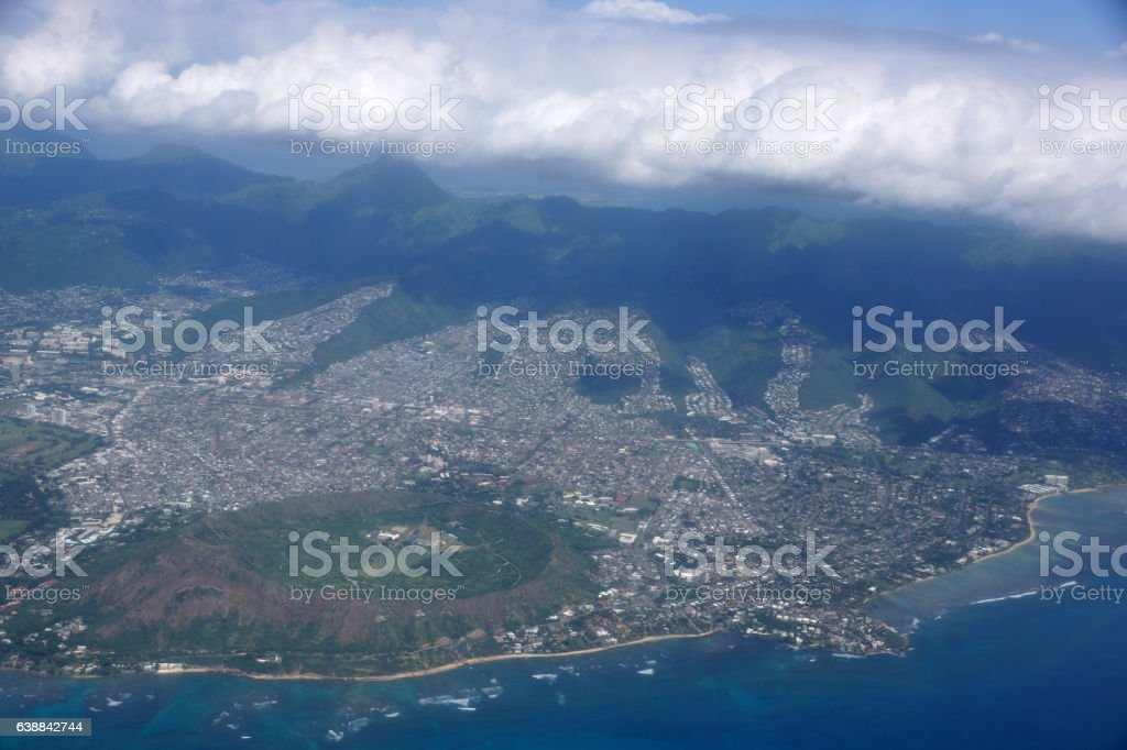 Aerial of Diamond Head Crater, Kaimuki, Kahala, and stock photo