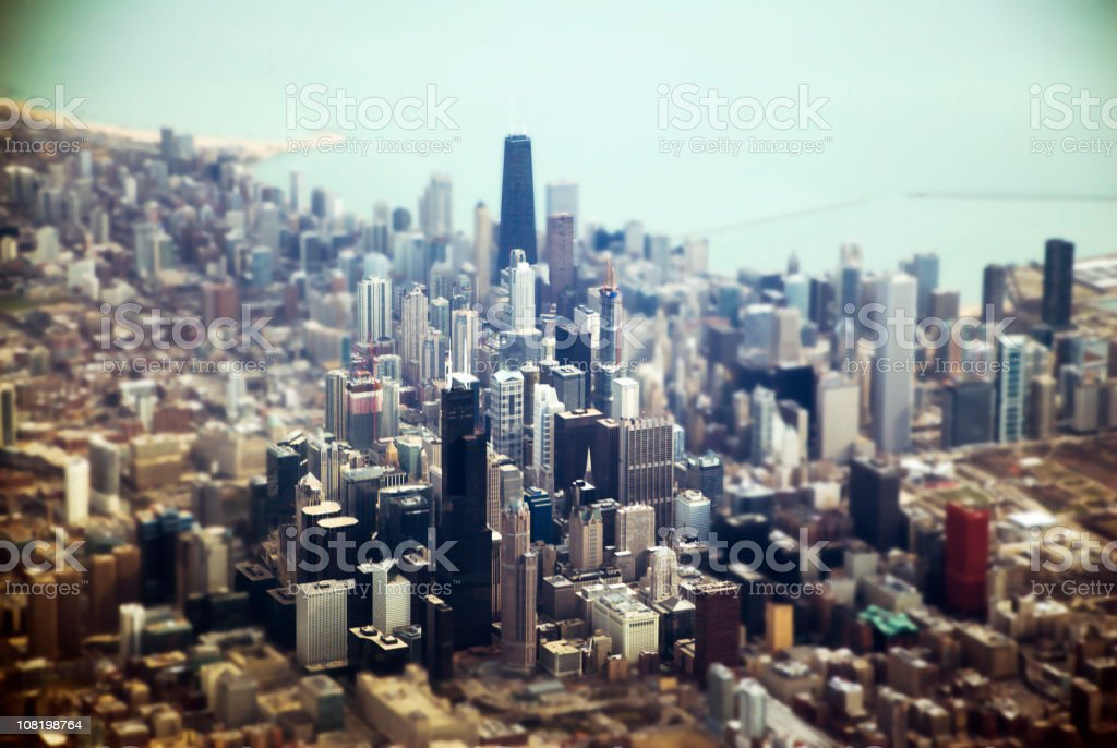 Aerial of Downtown Chicago, Tilt Shift stock photo
