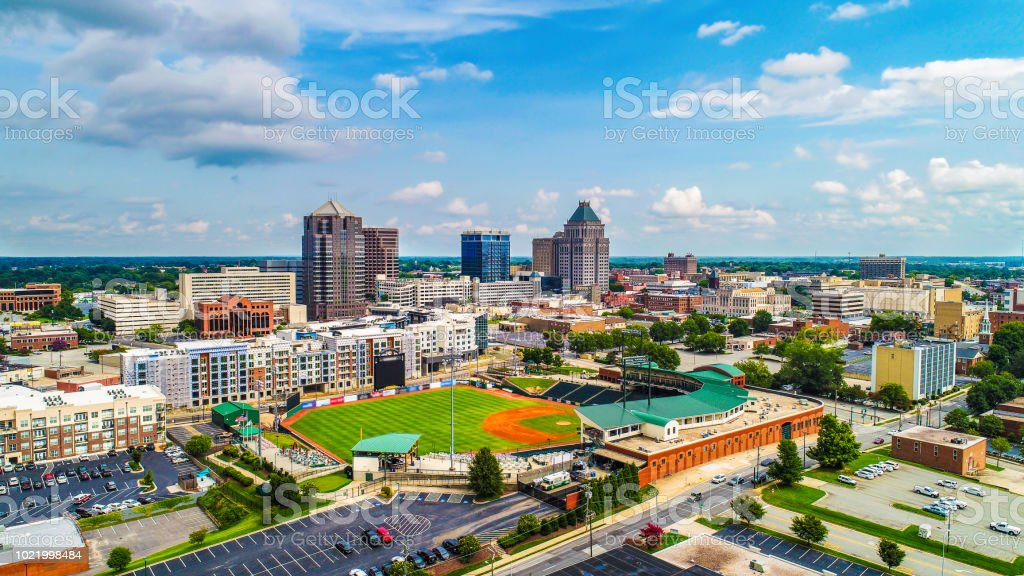 Aerial of Downtown Greensboro North Carolina NC Skyline royalty-free stock photo