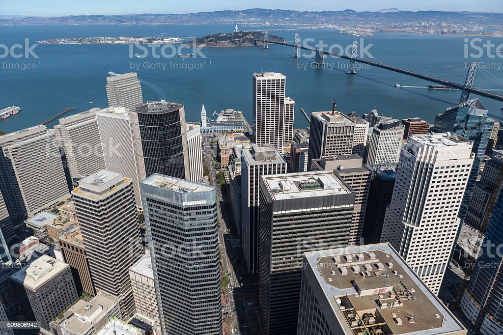 Aerial of Downtown San Francisco and the Bay Bridge stock photo
