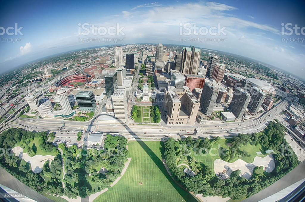 aerial of  downtown St. Louis stock photo