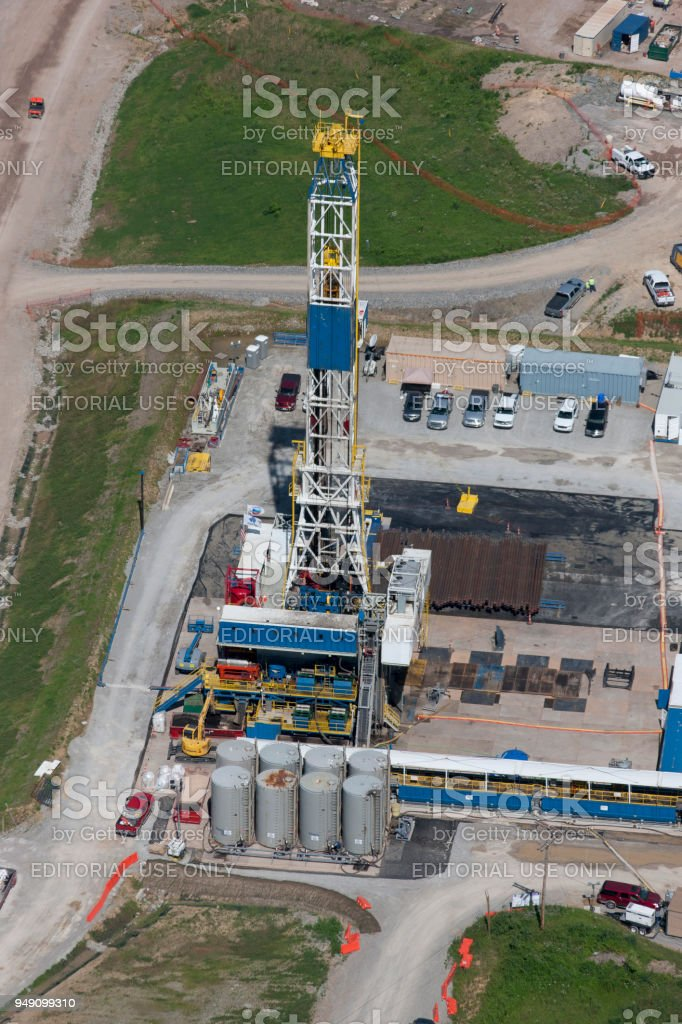 Aerial of Drill rig stock photo
