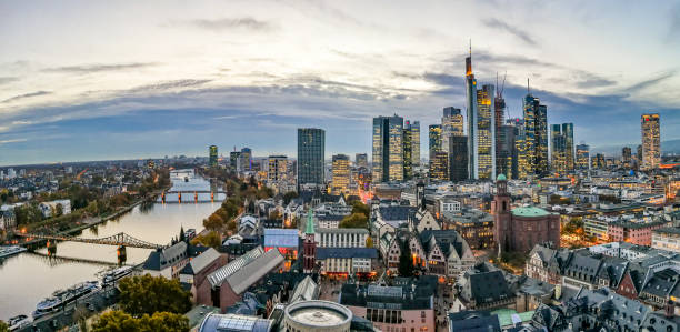 aerial of Frankfurt  in the evening stock photo
