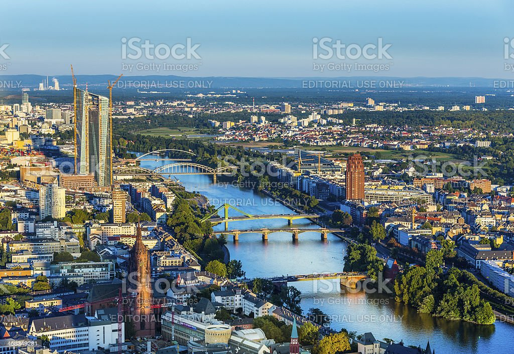 aerial of Frankfurt  with ECB Building royalty-free stock photo