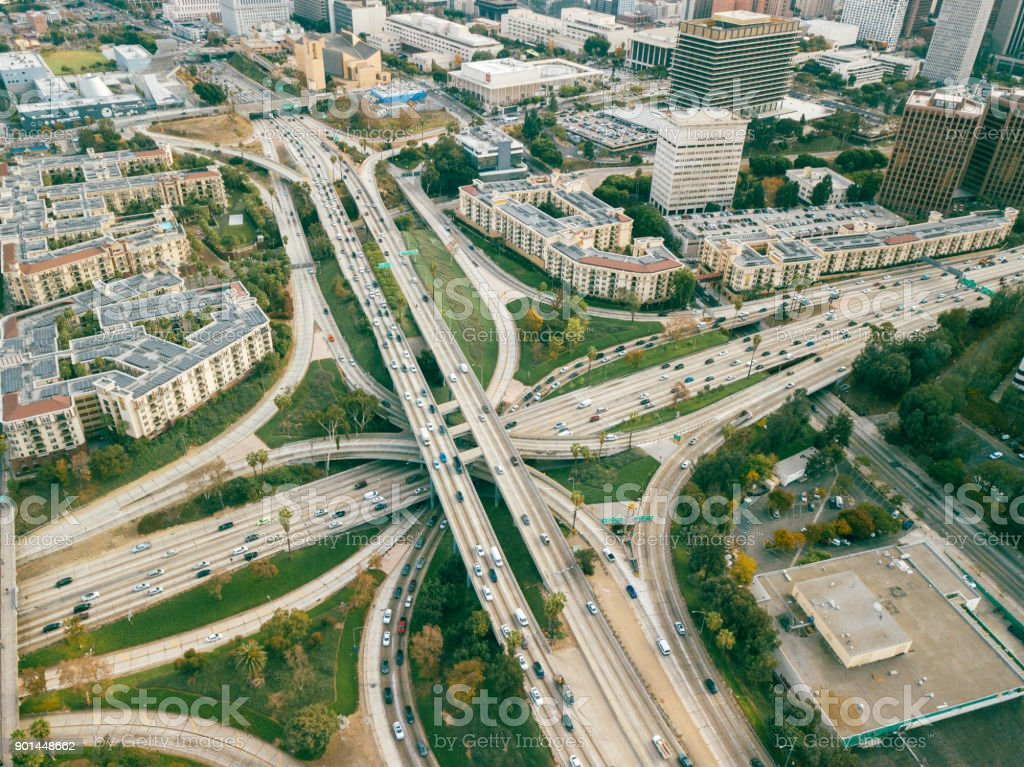 Aerial of Freeway Intersection in Los Angeles, California stock photo