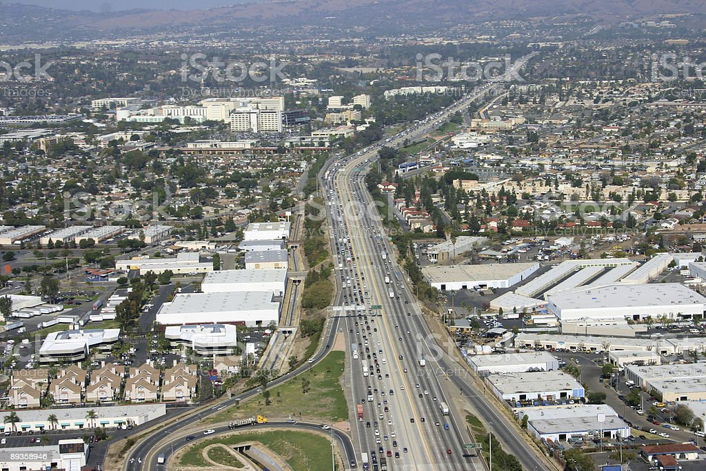 Aerial of freeway royalty-free stock photo