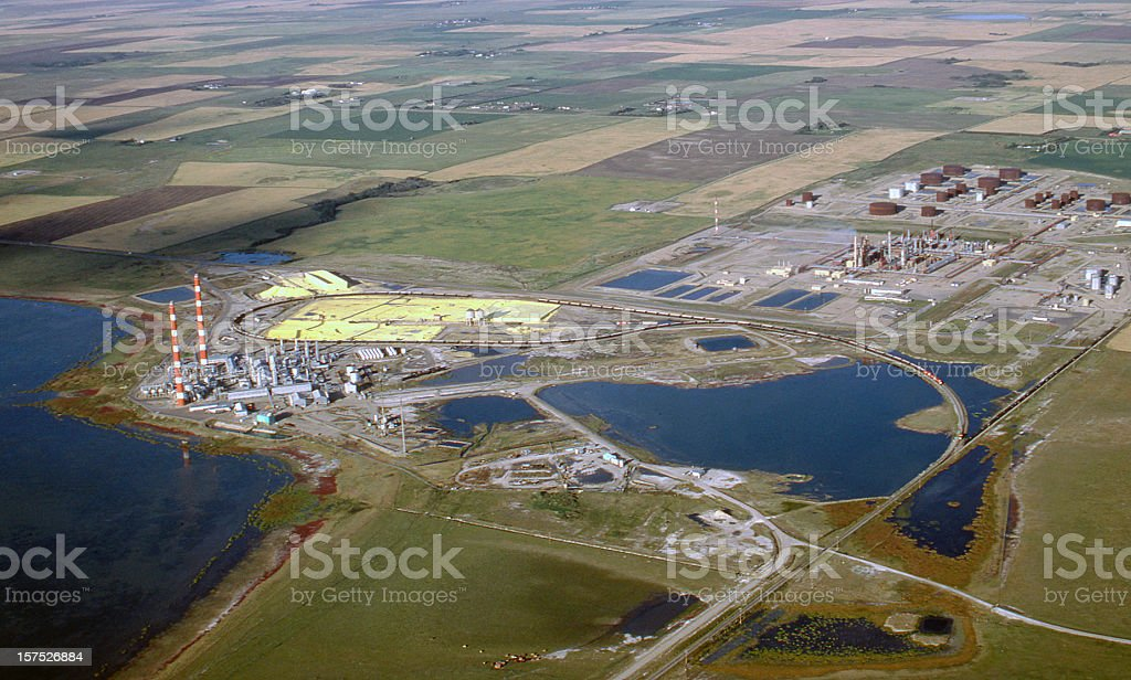 Aerial of Gas Plant with Water stock photo