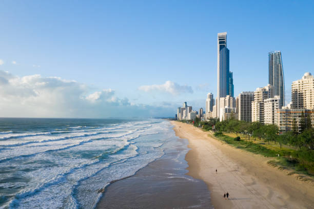 Aerial of Gold Coast beach and city stock photo