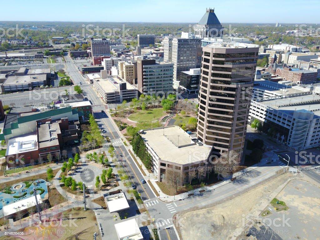 aerial of Greensboro too stock photo