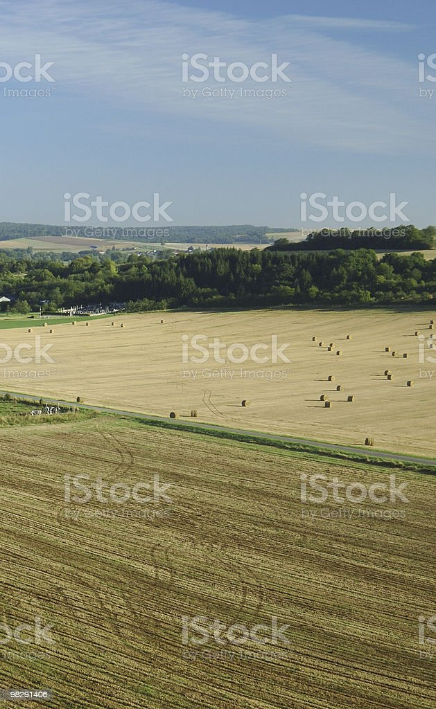 Aerial of harvest fields in summertime France royalty-free stock photo