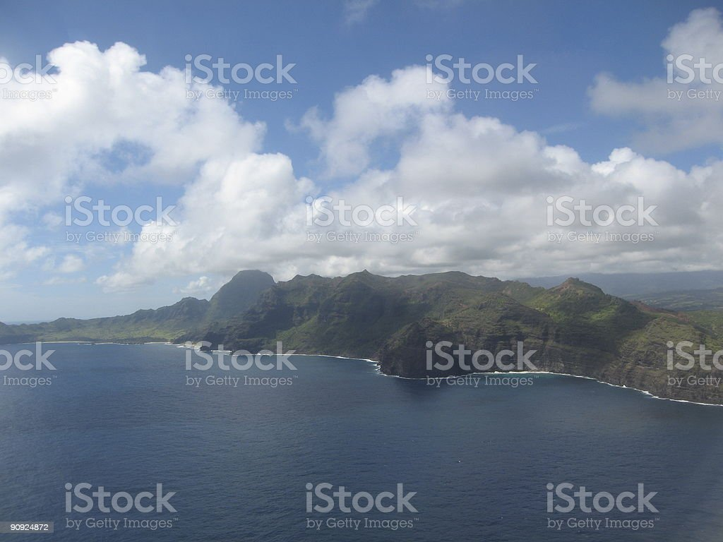 Aerial of Hawaiian cliffs and coastline stock photo