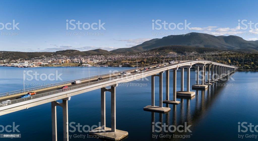 Aerial of Hobart City in Tasmania Australia stock photo
