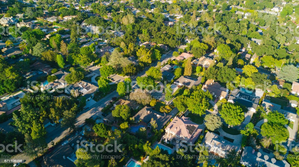 Aerial of Homes stock photo