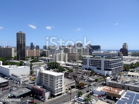 Honolulu - September 8, 2017: Aerial of Honolulu Ala Moana Area with McDonalds, Gas Station, Buildings, roads and Condos with Pacific Ocean stretching into the distance on nice day.