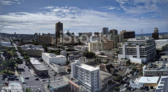 Honolulu - September 16, 2019:  Aerial of Honolulu Ala Moana Area with McDonalds, and Walmart, Buildings, roads and Condos with Pacific Ocean stretching into the distance on nice day.