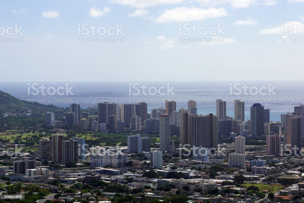 Aerial of  Honolulu, Diamond Head, Waikiki, Buildings stock photo