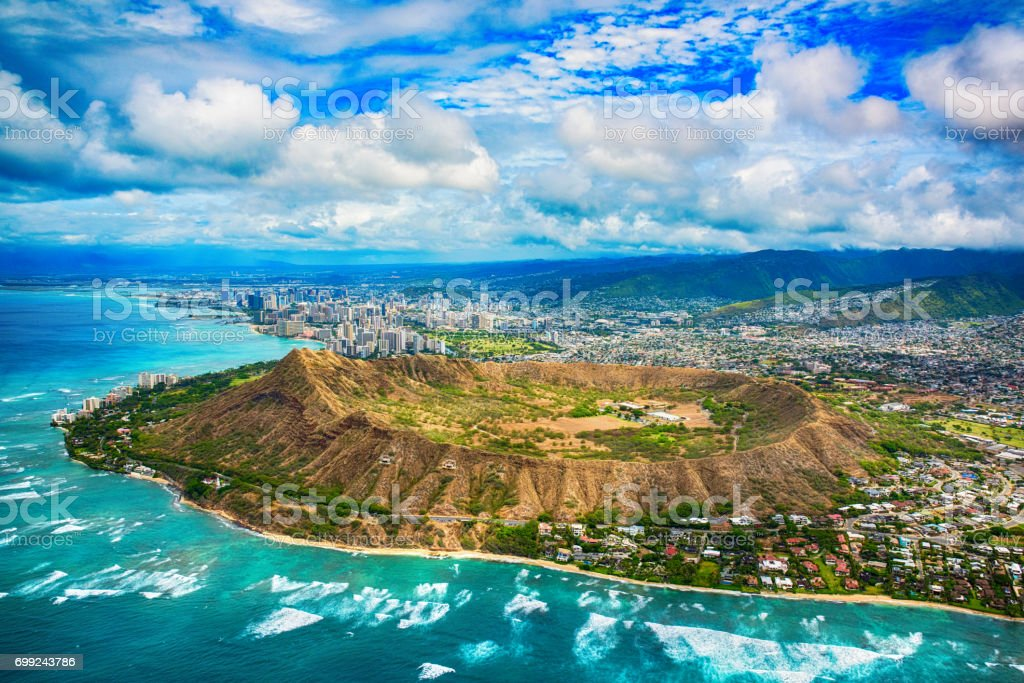 Aerial of Honolulu Hawaii Beyond Diamond Head stock photo