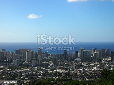 Aerial of Honolulu, Makiki, Waikiki, Buildings, parks, hotels and Condos with Pacific Ocean stretching into the distance on nice day.