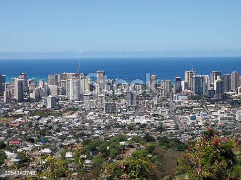 Aerial of Honolulu, Waikiki, Buildings, parks, hotels and Condos with Pacific Ocean stretching into the distance on nice day.  Seen from from the mountians.
