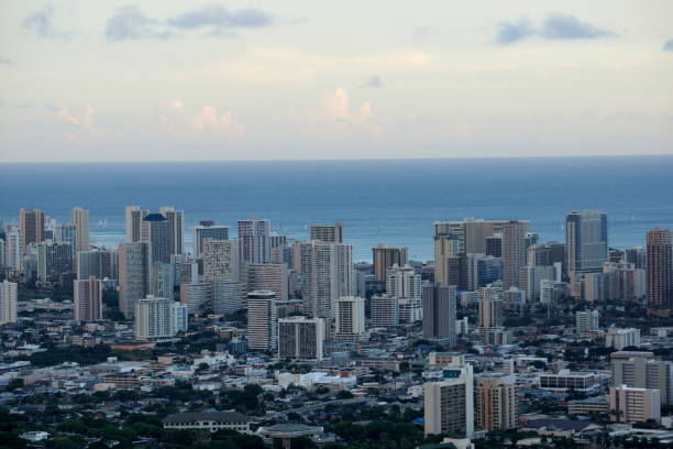 Aerial of Honolulu, Waikiki, Buildings, parks, hotels and Condos stock photo