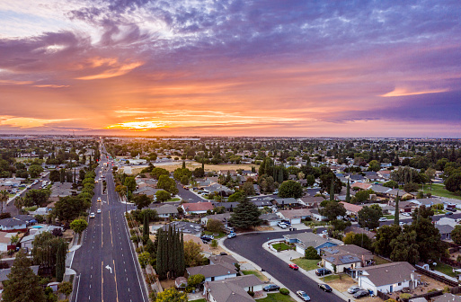Aerial of Houses in California Suburbs