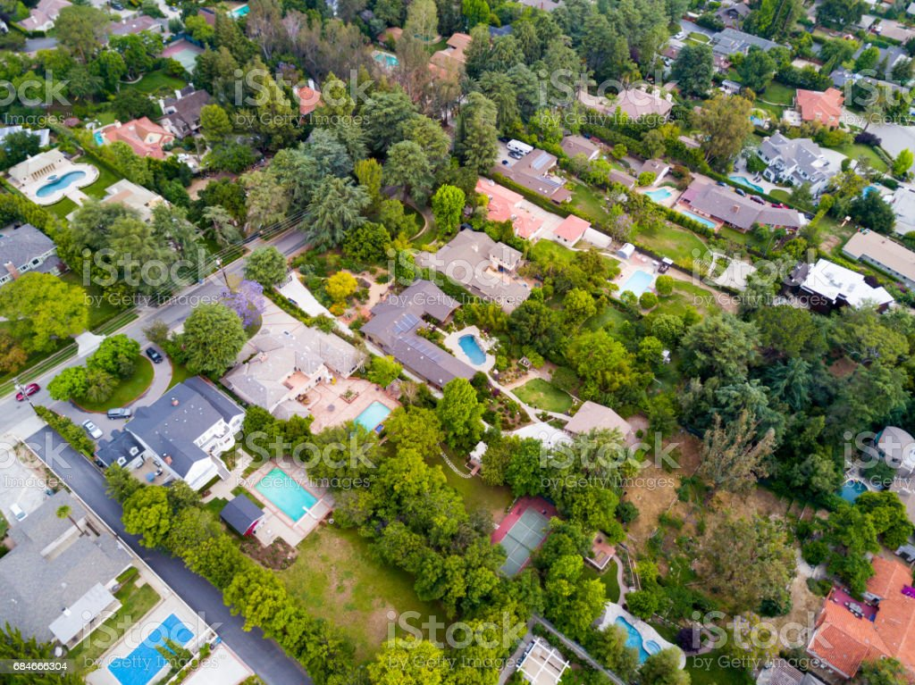 Aerial of Houses stock photo