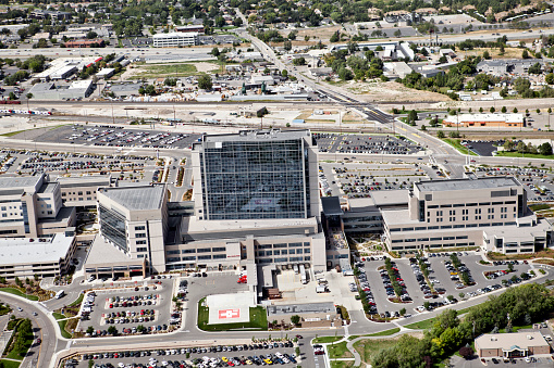 istock aerial of intermountain medical center Hospital in SLC Utah 155074696