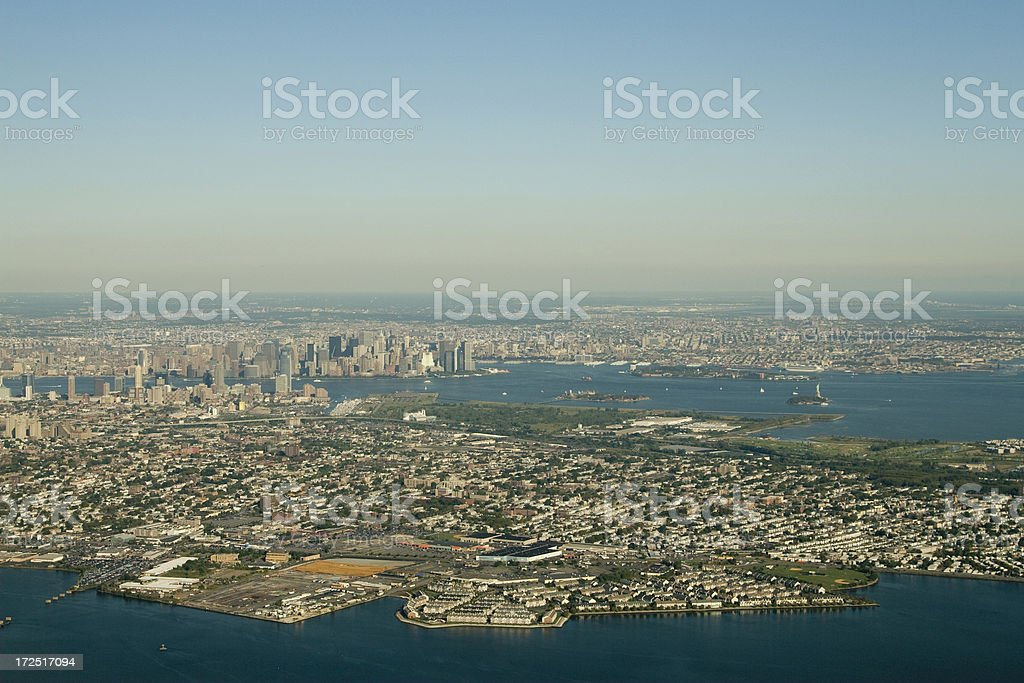 Aerial of Jersey and New York City royalty-free stock photo