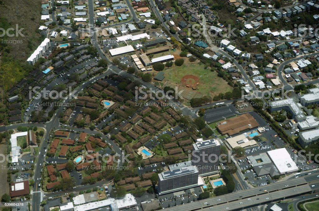 Aerial of Kahala, Wilson Park, YMCA and H-1 Highway stock photo