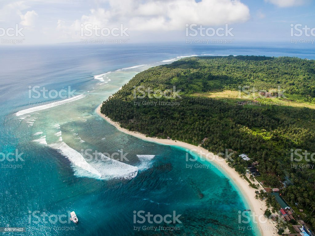 Aerial of Katiet and surf break stock photo