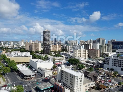 Honolulu - August 11, 2017: Aerial of King and Keeamoku Street in Honolulu, Diamond Head, Buildings, parks, hotels and Condos n nice day.