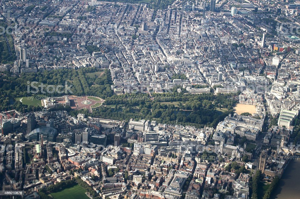Aerial of London with Buckingham Palace stock photo