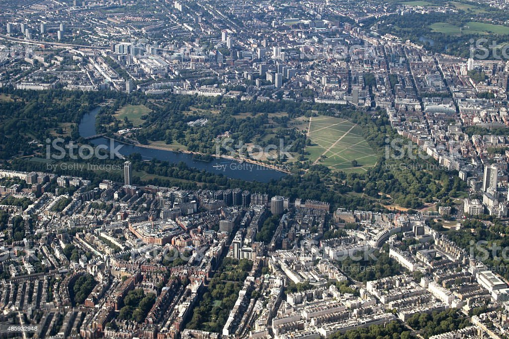 Aerial of London with Hyde Park stock photo