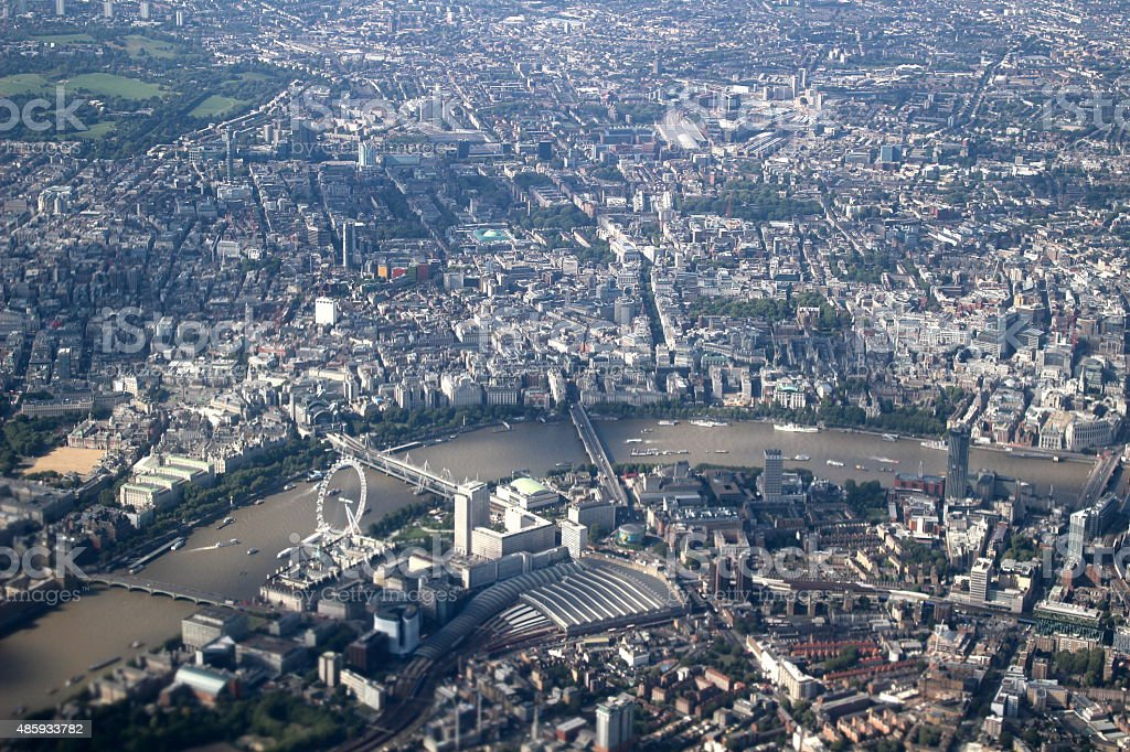 Aerial of London with the London Eye stock photo