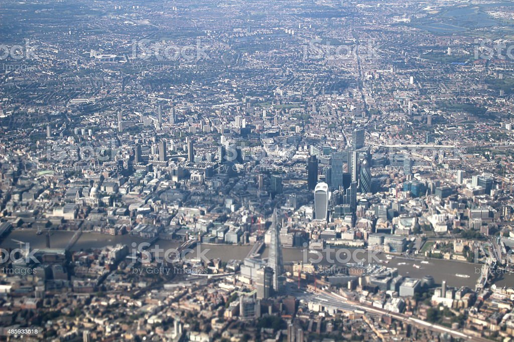 Aerial of London with the Shard stock photo