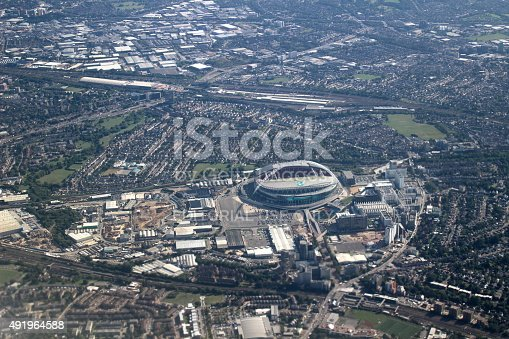 London, UK - August 21, 2015: Aerial view of London with Wembley Stadium