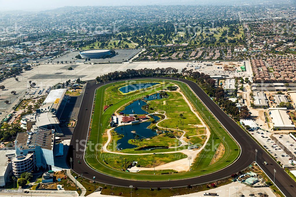 aerial of Los Angeles and the Hollywood Park stock photo