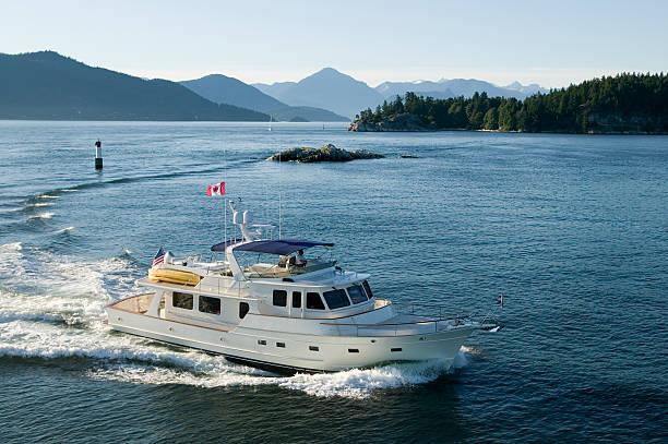 aerial of luxury motor yacht stock photo