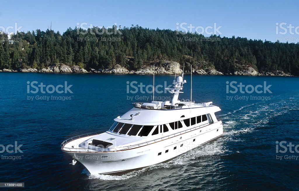 aerial of luxury motor yacht stock photo