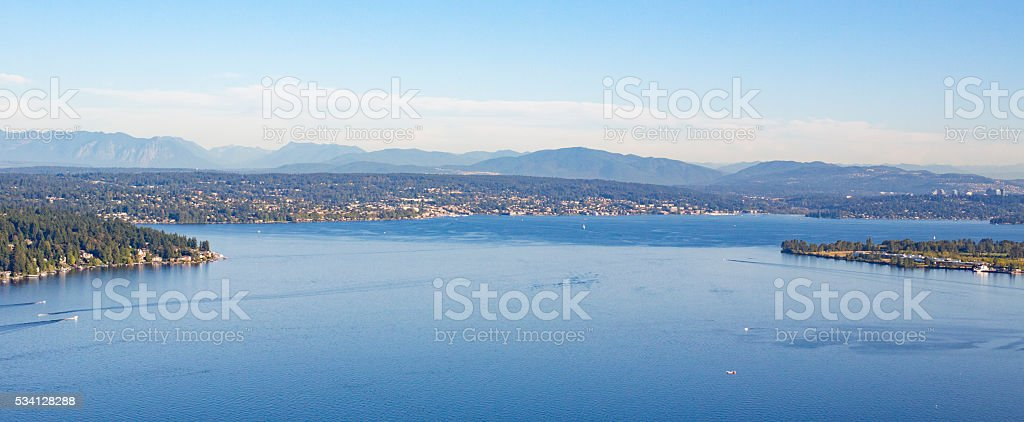 Aerial of Magnuson Park, Seattle, Lake Washington, Mt Rainier stock photo