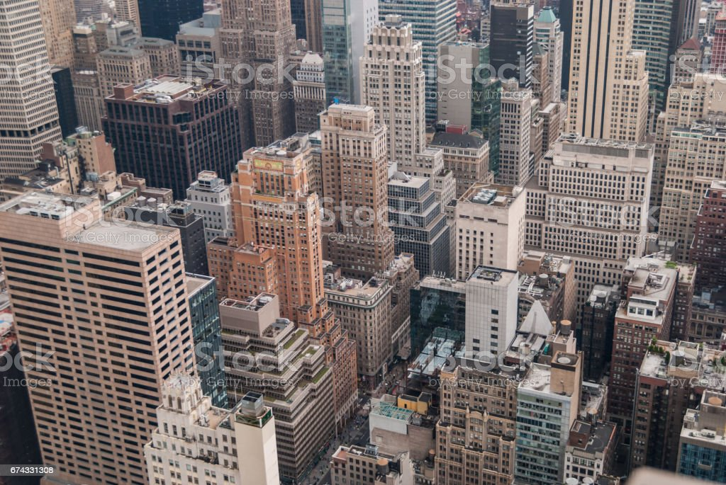 Aerial of Manhattan skyscrapers stock photo