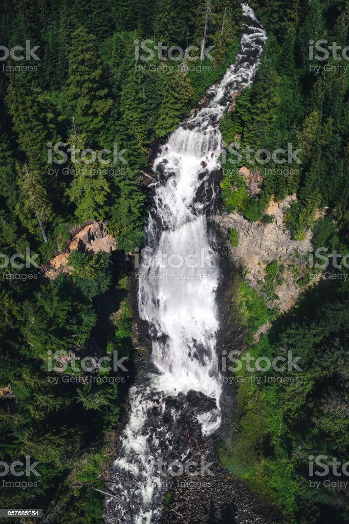 Aerial of Massive Waterfall Alexander Falls in Canadian Wilderness stock photo