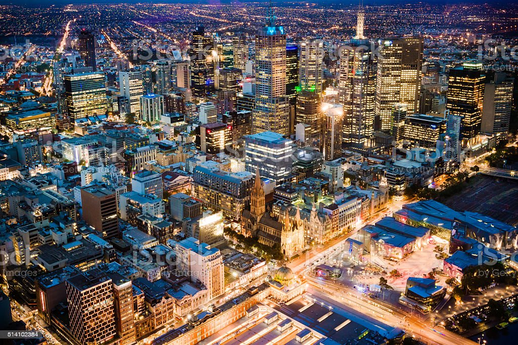 Aerial of Melbourne, Australia skyline and CBD at night stock photo