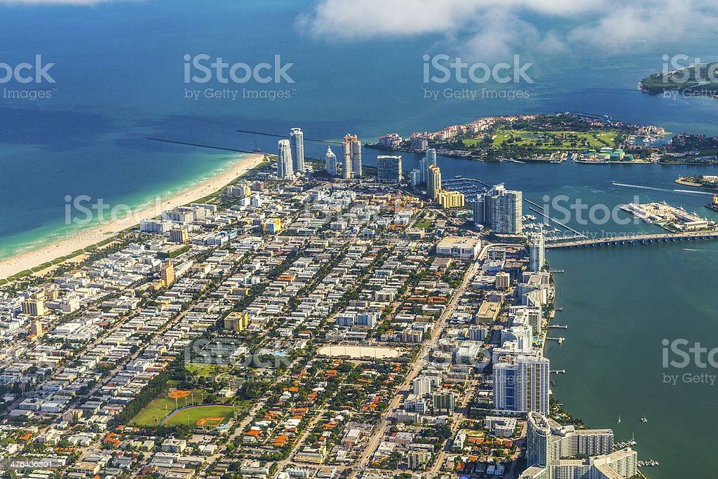 aerial of miami Beach and town stock photo