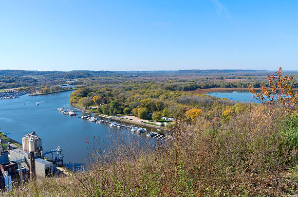 Aerial of Mississippi River and Marina stock photo