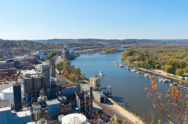 Aerial of Mississippi River Through Red Wing stock photo