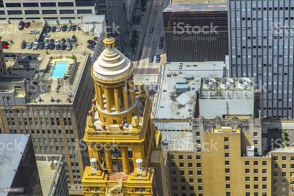aerial of modern and historic   buildings in downtown Houston royalty-free stock photo