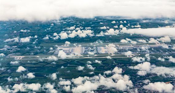 istock aerial of Munich Airport in the erdinger moos 538455296